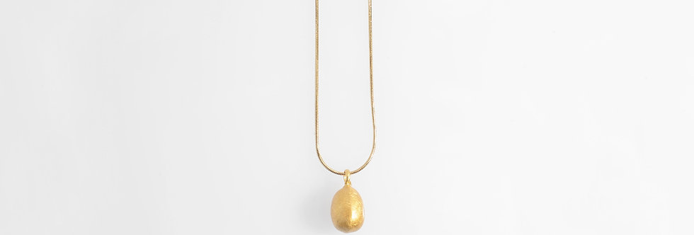 Brushed Gold Plated Water Drop Pendant on Chain