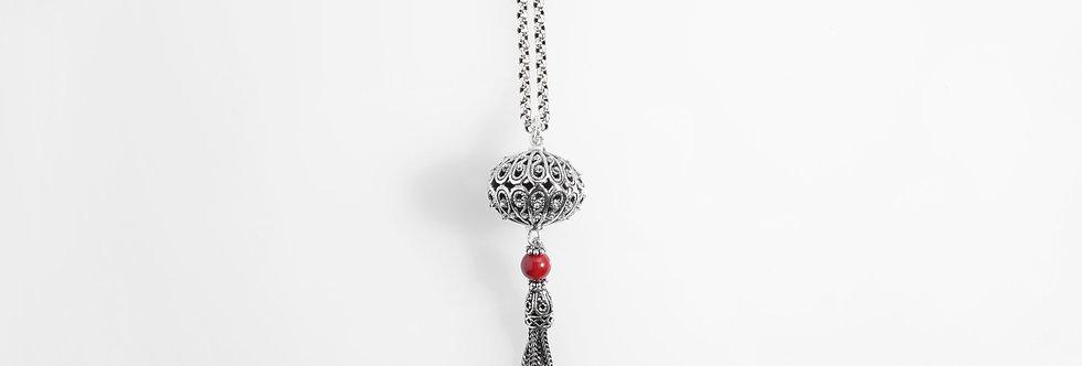 Silver Lantern Tassels Pendant on Chain