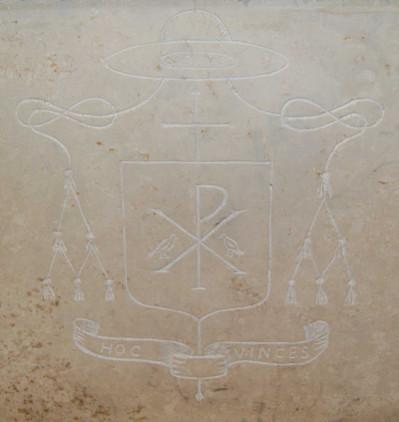 Particolare del trono: stemma del Vescovo Caminada