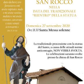 """San Rocco 2020 - Il """"rientro"""" del Santo"""