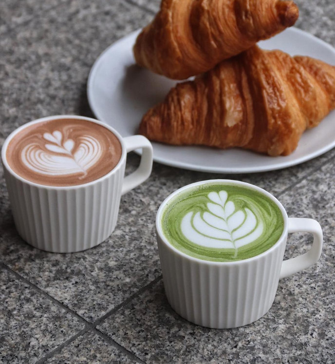croissant, hot chocolate and hot matcha