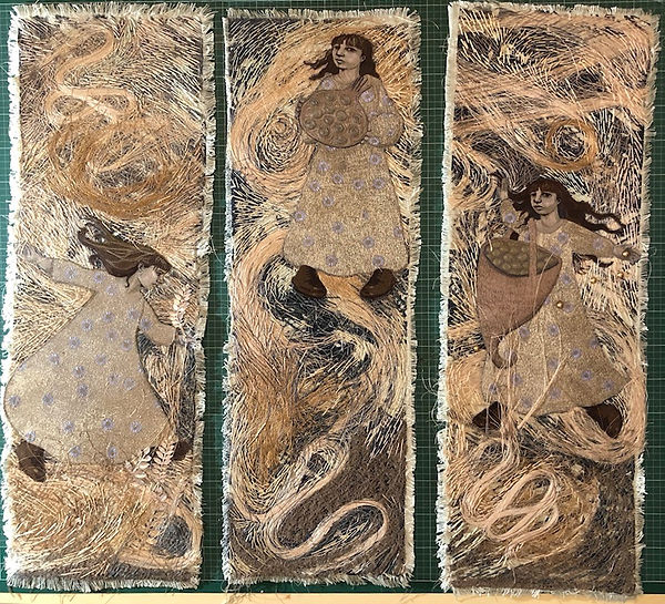 Seeds, Flowers and Flowing hair 3 panels