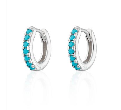 Huggie Hoop Sterling Silver Earrings with Turquoise Stones