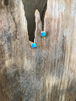 Silver Square Studs in Ocean Blue or Deep Sea Blue