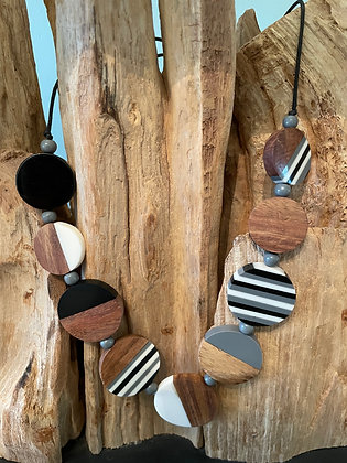 Abstract Resin and Wood Necklace