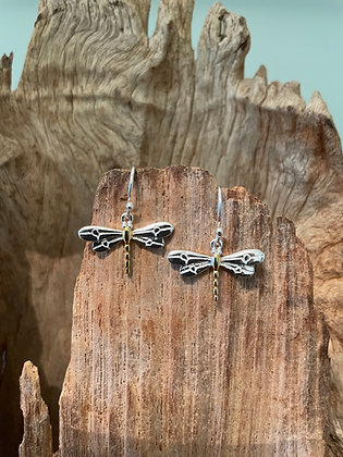 Dragonfly Drop Sterling Silver Earrings