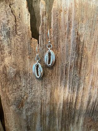 Cowrie Shell Sterling Silver Drop Earrings