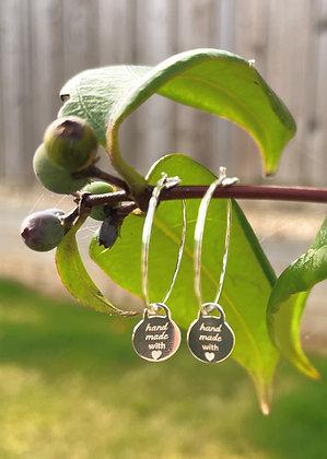 'Handmade With Love' Silver Hoop Earrings