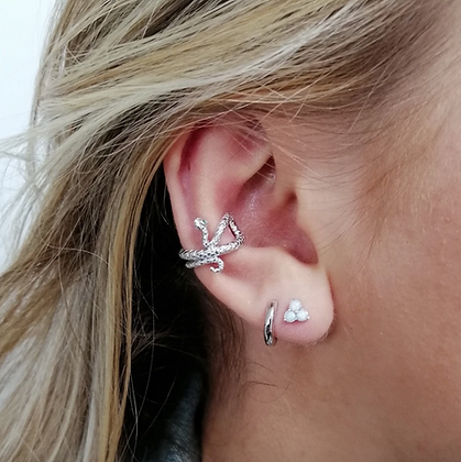 Snake Ear Cuff in Sterling Silver