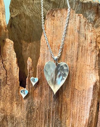 Leaf Heart Sterling Silver Earrings