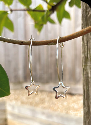 Large Silver Star Hoops