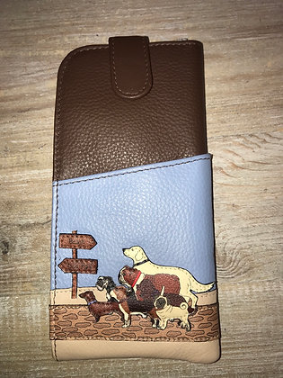 Dog Walk Leather Glasses Case