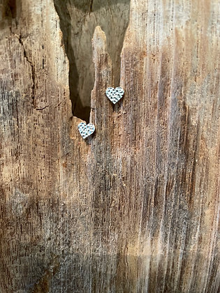 Tiny Hammered Heart Stud Earrings in Sterling Silver