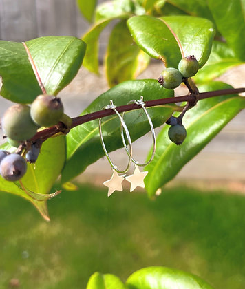 Silver Simple Star Hoop Earrings