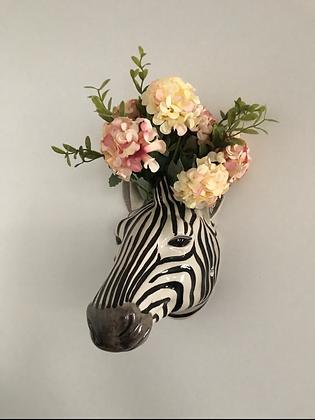 Zebra Head Wall Vase