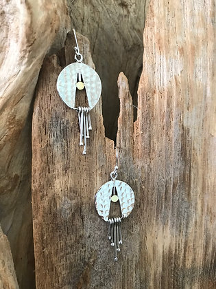 Disc Movement Sterling Silver Earrings