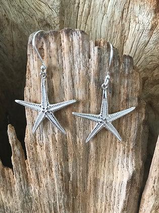 Star Fish Sterling Silver Drop Earrings