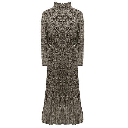 Lange jurk met plissé en hoge kraag in luipaard print beige