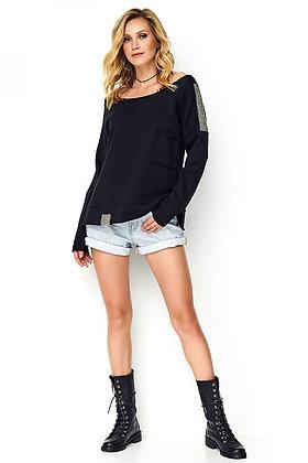 Zwarte sweater - glitterstreep