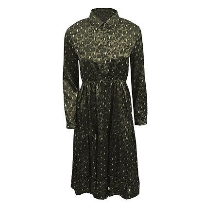 Lange plissé jurk in luipaard print met gouden stip