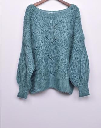 Blauw/Blauwgroen korte trui open kraag