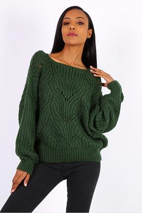 Groene korte trui open kraag