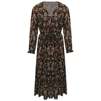 Lange maxi jurk met velours details en printRINT