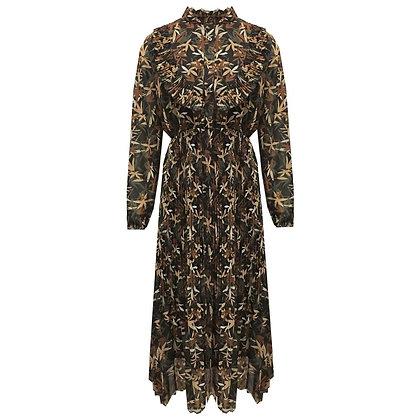 Lange plissé jurk met hoge kraag en herfst  blader print