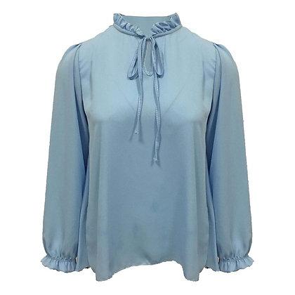 Blouse blauw met plissé achterkant
