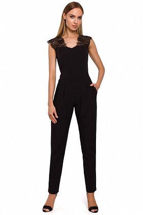 Zwarte jumpsuit met kant