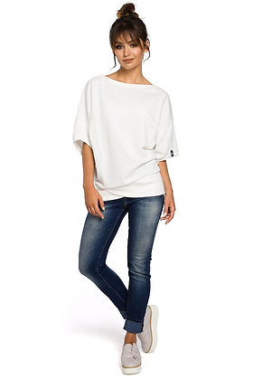 Witte sweater halflange mouwen