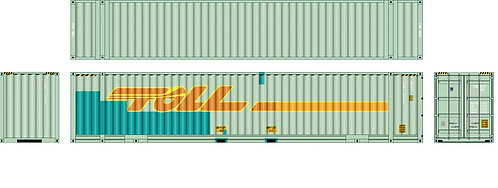 """2 x HO Scale 48"""" Containers TOLL (Weathered and New) Southern Rail Models 48D16"""