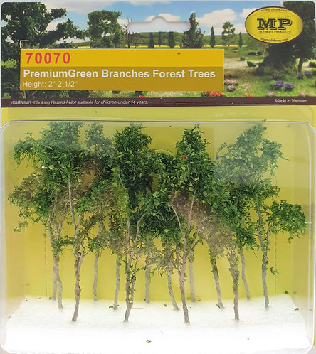 """Premium Green Branches Forrest Trees, 14/pk 2""""-2.5"""" Tall"""