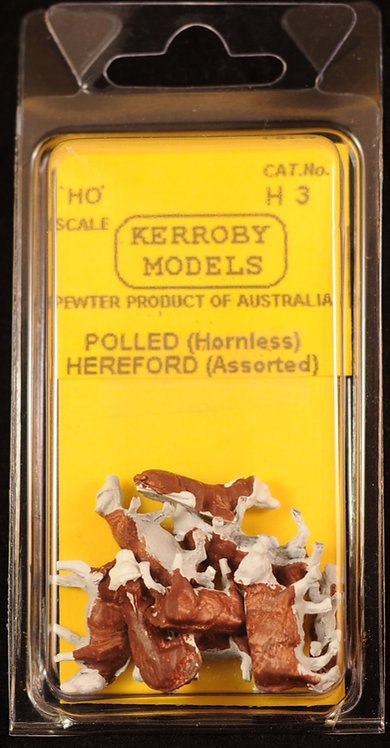 10 x Polled Hereford Hornless Cows Assorted  HO Kerroby Models KM-H3
