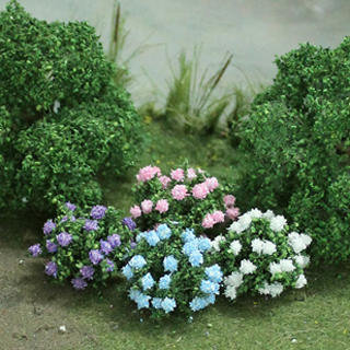 "Hydrangea 1"", Tall O-scale, Blue-White-Pink-Purple, 8/pk MP Scenery"