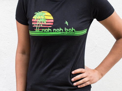 Ladies Black Rasta Palms Tee