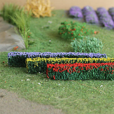 "Flower Hedges 5"" x 3/8"" x 5/8"", Tall HO-scale, 6/pk MP Scenery"