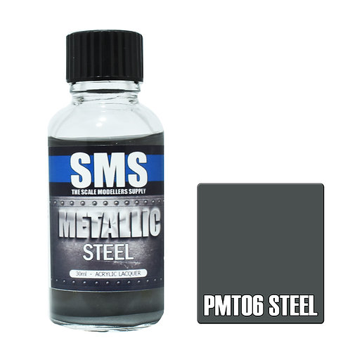 SMS Metallic Acrylic Lacquer Steel 30ml SMS-PMT06