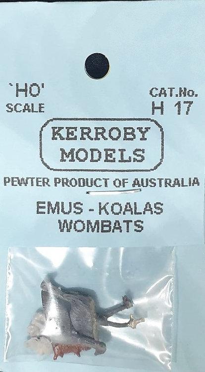 3 x 2 of each Emus, Koalas & Wombats HO Kerroby Models KM-H17
