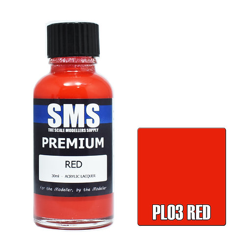 SMS Acrylic Lacquer Premium Red 30ml SMS-PL03