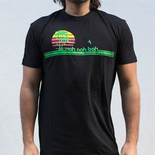 Men Black Rasta Palms Tee