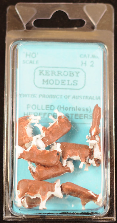 10 x Polled Hereford Steers Hornless Cows HO Kerroby Models KM-H2