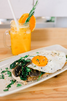 Eggs on Toast with Spinach & Mushrooms and Stress Less Juice
