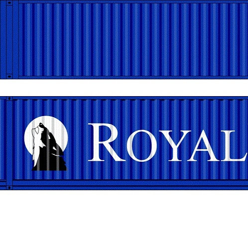 """2 x HO Scale 48"""" Containers Royal Wolf - Old Logo Southern Rail Models 48D22"""