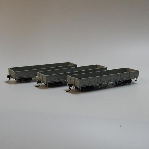 HO Queensland Rail HJS Open Wagon Grey Set 3 Wuiske Models (3 Pack)