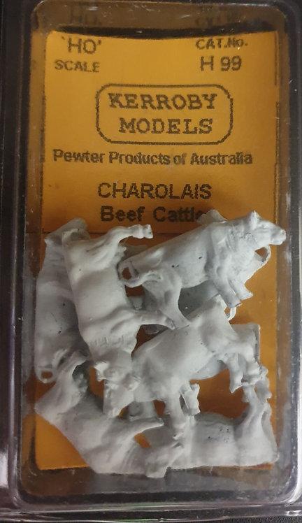 8 x Charolias Beef Cattle HO Kerroby Models KM-H99