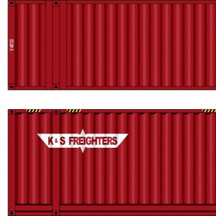 """2 x HO Scale 48"""" Containers K&S Freighters Southern Rail Models 48D13"""