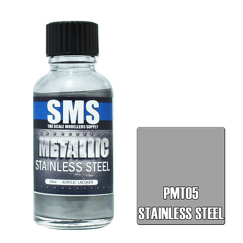 SMS Metallic Acrylic Lacquer Stainless Steel 30ml SMS-PMT05