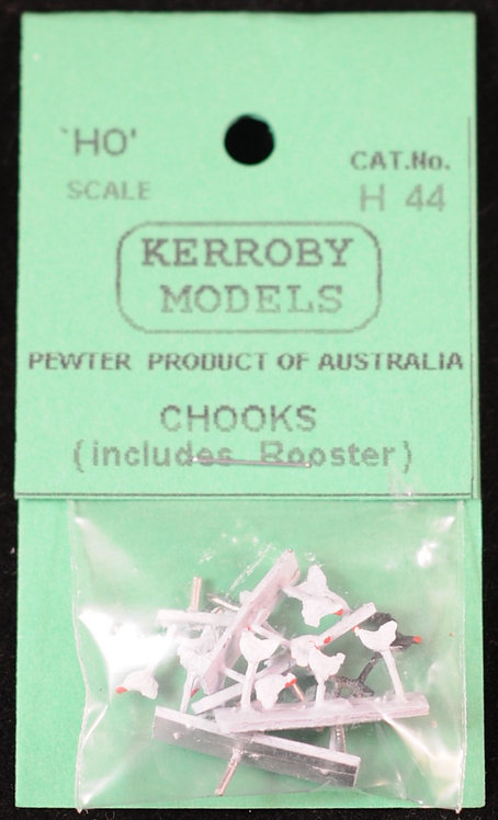 15 x Chickens With Rooster HO Kerroby Models KM-H44