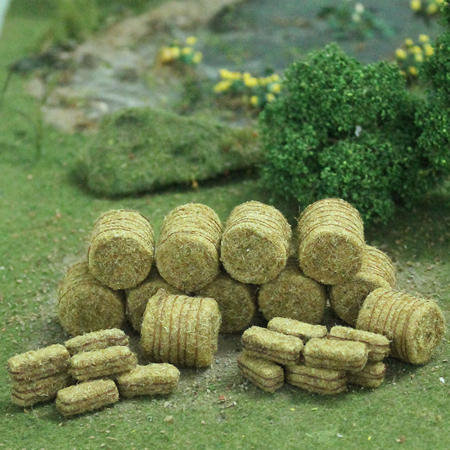 Brown Hay Bales, HO-scale, 30/pk (10 round and 20 rectangular) MP Scenery